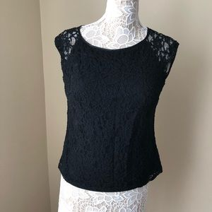 Laundry by Shelli Segal Black Lace Top Lg